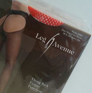 9202c598b Leg Avenue Accessories - NWT one size thong back red fishnet pantyhose